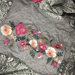 Grey floral short sleeve shirt